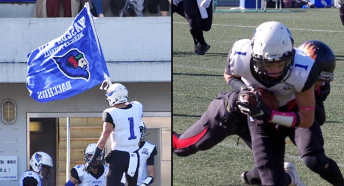 右:部旗とともに入場 左:ファーストプレーのパスをキャッチする倉田1