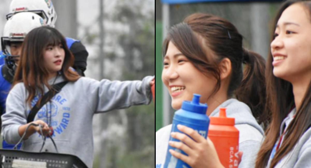 左:タイムアウト。タイムリーに給水のMGR木村 右:優勢な戦況に笑顔のMGR陣市川チーフ、大槻